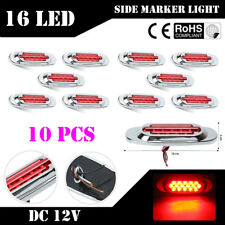 10X Oval Red 16 LED Side Marker Clearance Tail Light Lamp For Truck Trailer Boat