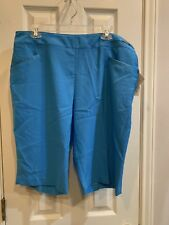 NEW Women's EP Pro Golf Shorts, Capris, Turquoise Blue, Polyester Size 14