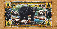 Bear Animal Fabric - Black Bear Nature Bear Country Quilting Treasures - Panel