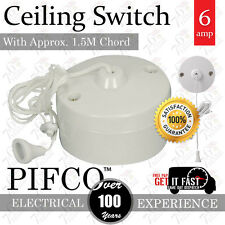 NEW 6Amp Ceiling Pull 1.5M Cord 2 Way Switch Bathroom/Toilet Light Switch CE APP
