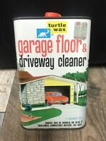 Vtg 1966 Turtle Wax Garage & Driveway Cleaner Tin Litho Metal Can w/ Red Car