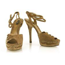 Bally Beige Suede & Snakeskin Ilya Platform Heels Sandals Pumps Shoes sz 36