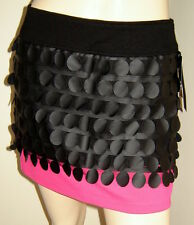 BABY PHAT Unique Black/Pink Knit Mini Skirt w/ Faux Leather Mesh Overlay (S) NWT