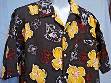 Hawaiian Shirt PT Sports Wear Black with Yellow Hibiscus Size Large