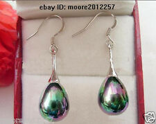 Classic New 12X16mm peacock black shell pearl 925 Sterling Silver Dangle Earring