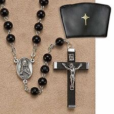 """Black Wood Rosary with Case NEW (LS996) 16"""" Long, 6 MM beads, Celtic Cross Case"""