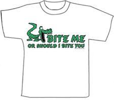 Funny T-Shirts.. Bite ME.. White  CottonT-Shirt (M)