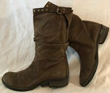 Progetto Brown Mid Calf Leather Lovely Boots Size 39 (77vv)