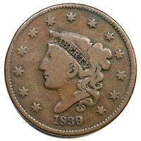 1839/6 N-1 R-3 Matron or Coronet Head Large Cent Coin 1c