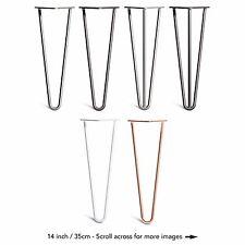 4x Premium Hairpin Table Legs Screws & Feet (28 Inch 3 Rod Bare)