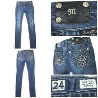 Miss Me Womens Size 24 (28 in Waist) Dark Fleur-de-lis Mid-Rise Skinny Leg Jeans