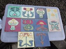Ceramic Art Nouveau Tiles 10x Floral Design Kitchen Fireplace 6""