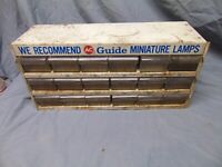 vintage AC Guide Miniature Lamps Display Rack Shelf 18 Compartment Metal 19 x 6""