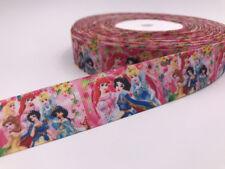 1 Yard 1'' Party princess girl Printed Grosgrain Ribbon Hair Bow Sewing Ribbon