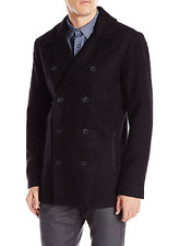 Kenneth Cole Reaction Men's Faux Leather Trim Pea Coat,Size L, MSRP $219.5