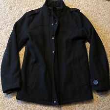 BKE Men's Wool Blend Pea Coat Black - Size Small - Free Shipping - Heavy & Nice!