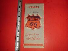 JE377 Vintage Philips 66 Oil Gas Service Station Map of Kansas