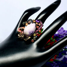 NATURAL 14 X 22 mm. PEAR PURPLE CHAROITE AMETHYST SAPPHIRE RUBY RING 925 SILVER
