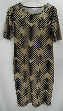 LuLaRoe Women's Julia Dress Beige with Black Polka Dots in MEDIUM   NWT