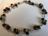 Vintage Obsidian & Mother Of Pearl Cluster Necklace