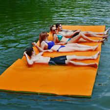 3-Layer Floating Water Pad 12' x 6' Floating Oasis Foam Mat for Relaxing Orange