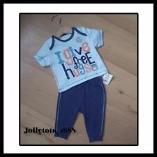 BNWT Baby Boys Top & Trouser Set 0-3 Months 2 piece Casual Blue Green Outfit