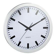 XL Wanduhr Bürouhr Bahnhofsuhr Ø40cm silber weiß Uhr Küchenuhr Uhr Wohnzimmeruhr