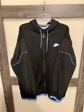 NIKE Men's Black Full Zip 100% Polyester Hoodie Swoosh Patch UNC Size L Rare!