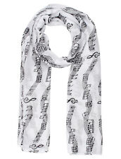 White Music Print Scarf Musical Notes Ladies Fashion Maxi Scarf Wrap Soft Warm