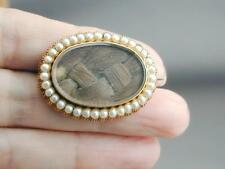 Gorgeous 14k Braided Hair Seed Pearl Framed Mourning Pin H.E. Tower