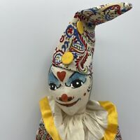 "Vintage Circus Clown Harlequin Doll Cloth Hand Painted Folk 16"" Beautiful Doll"