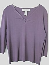 SAG HARBOR  Knit Top, Plum , 3/4 Sleeve, Petite Large