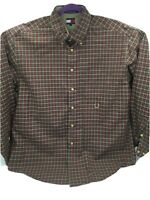 Tommy Hilfiger Sz L Button Down Long Sleeve Mens Brown Plaid Shirt