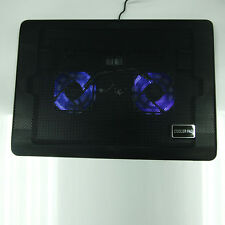 "12-17"" Laptop LED Light USB Built-In 2 Fans Cooler Air Cooling Stand Pad Bl"