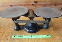 Antique Chatillon Cast Iron & Brass BALANCE SCALE 17H Vintage New York USA 16oz