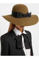 Saint Laurent YSL Brown Lapin Felt Grosgrain-Trimmed Wide Brim Hat 58 - $1,250