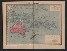 Landkarte map 1885: AUSTRALIEN. Neuseeland Pazifischer Ozean Borneo Kaledonien