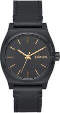 Nixon Medium Time Teller Leather Women's Watch, All Black