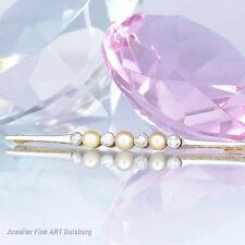 Nadel in 585/- Gelb/Weißgold mit 3 Zuchtperlen + 4 Diamanten
