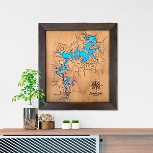 Custom Wood Map - Any Locations, Lake Map Lake House Decor Personalized Gift