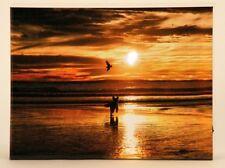 Wandbild LED beleuchtet Sonnenuntergang am Strand mit Hund 30cm x 40cm Bild