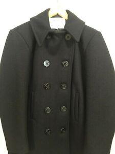 US Navy Vintage Wool Overcoat Pea Coat Peacoat Mens Coat 36 Black Military USA