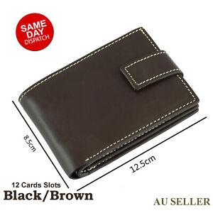 Mens GENUINE Leather Wallet Slim RFID Blocking Trifold Card Holder pocket Purse