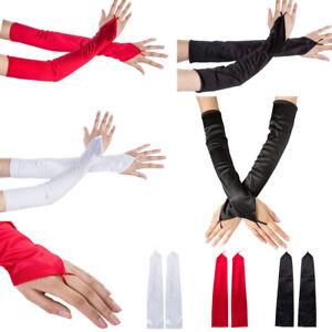 Women Fingerless Long Gloves Sun Protection Driving Mittens Satin Party Gloves