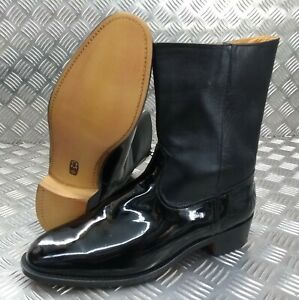 Genuine British Made Hobson Police Officers ½ Wellington Zip Boots With Spur Box
