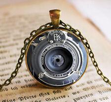 Vintage camera Cabochon Tibetan Bronze Glass Chain Pendant Necklace G08