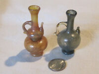 2 miniature dollhouse hand blown glass vases, large decor display pieces