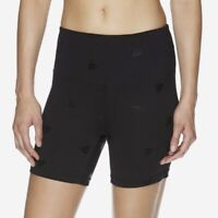 Reebok Women's Black High Rise Logo Fitted Compression Shorts Size XS NWT New