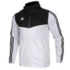 NWT Adidas DY0097 Tiro Windbreaker Rain Jacket Hoodie Full Zip White/Black $65