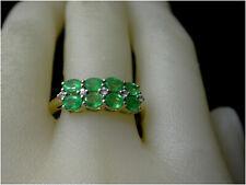Diamond & Emerald Ring Cluster size U 10ct Gold real diamonds & Emeralds